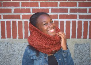 Hooded Chunky Cowl - Spice